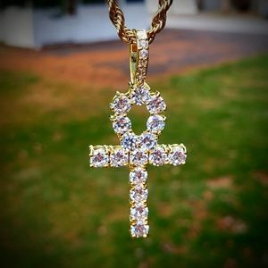 """24"""" Simulated Diamond Stainless steel Ankh Chain"""
